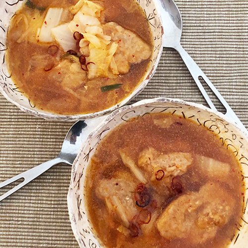 キムチと大豆ミートのスープ鍋